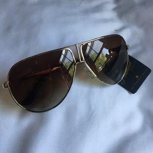 Polaroid Brown & Gold Aviator Sunglasses